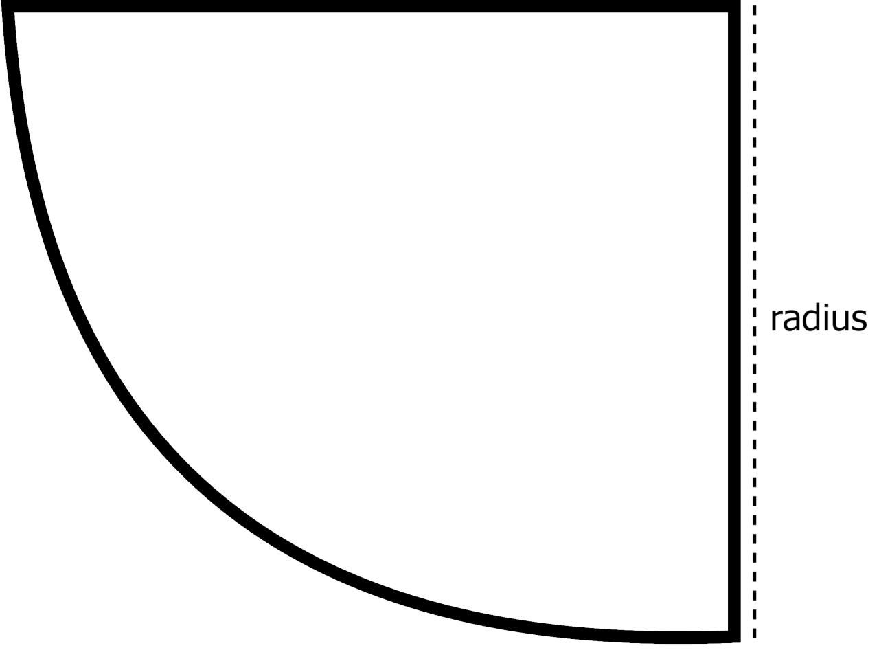 corner cylinder aquarium top view showing the radius dimension
