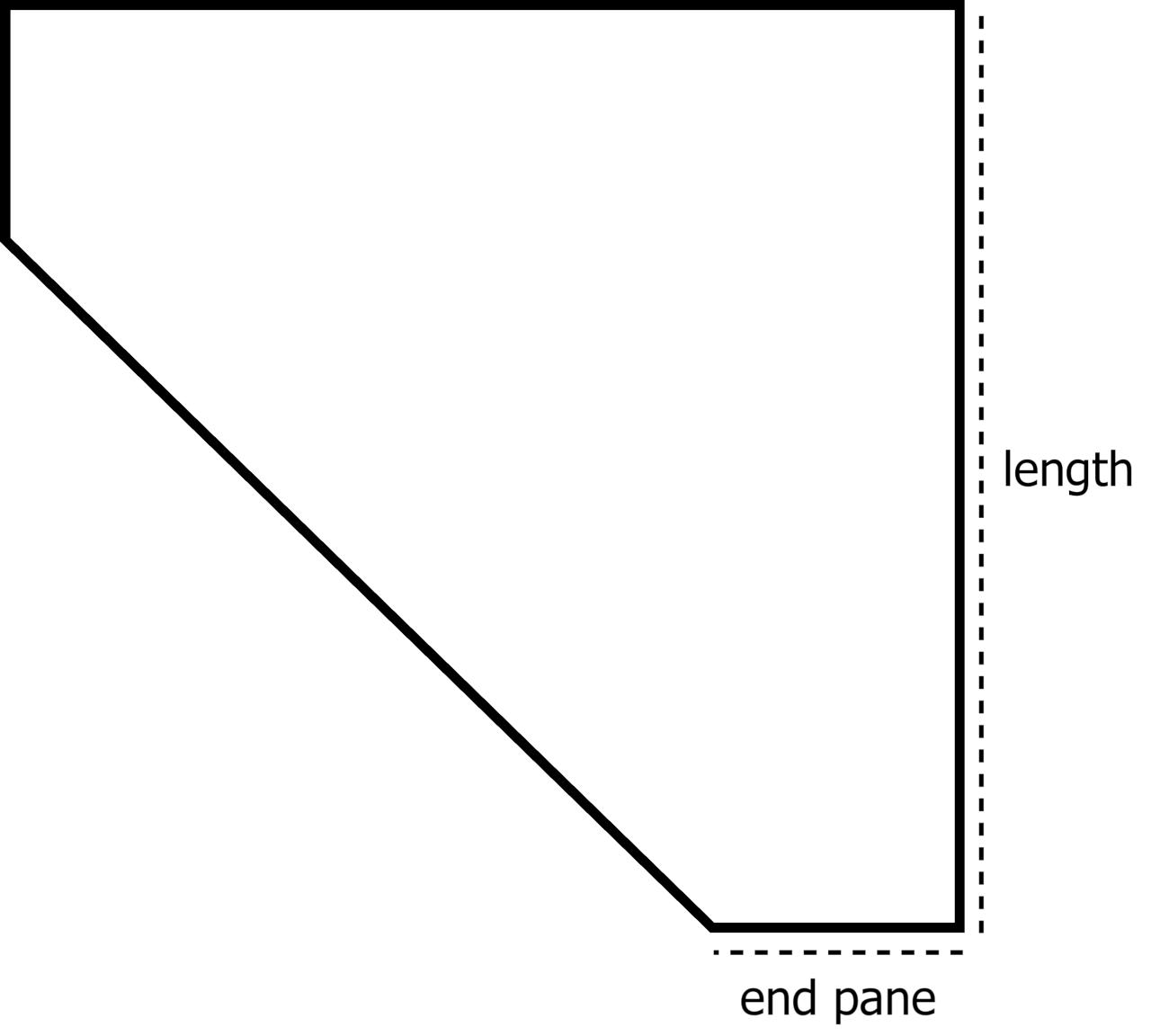 corner pentagon aquarium top view showing the length and end pane dimensions