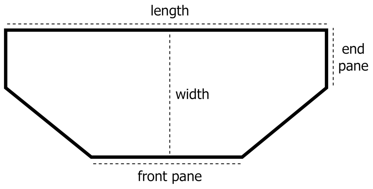 flat-back hexagon aquarium top view showing the length, width, end pane, and front pane dimensions