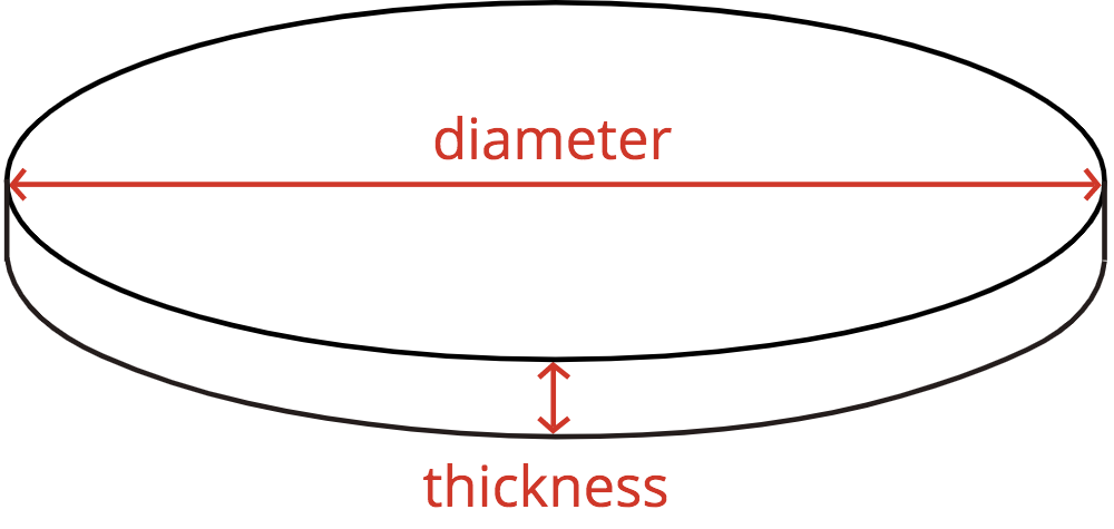 diagram of a circular concrete slab showing the diameter and thickness dimensions