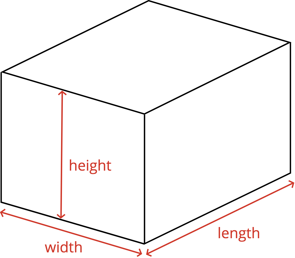 diagram of a concrete footing showing the length, width, and height dimensions