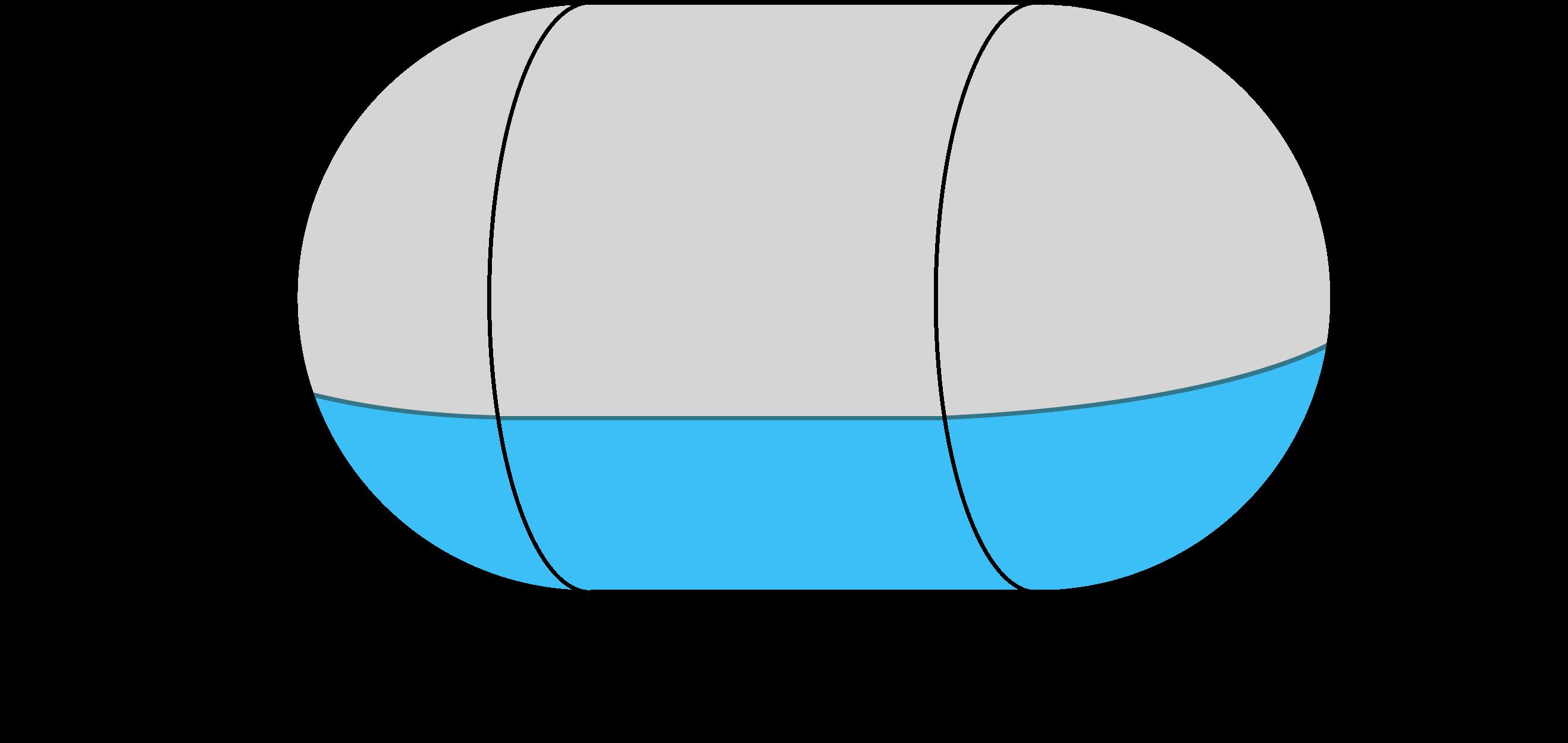 horizontal capsule tank diagram showing side length, diameter, and fill depth dimensions