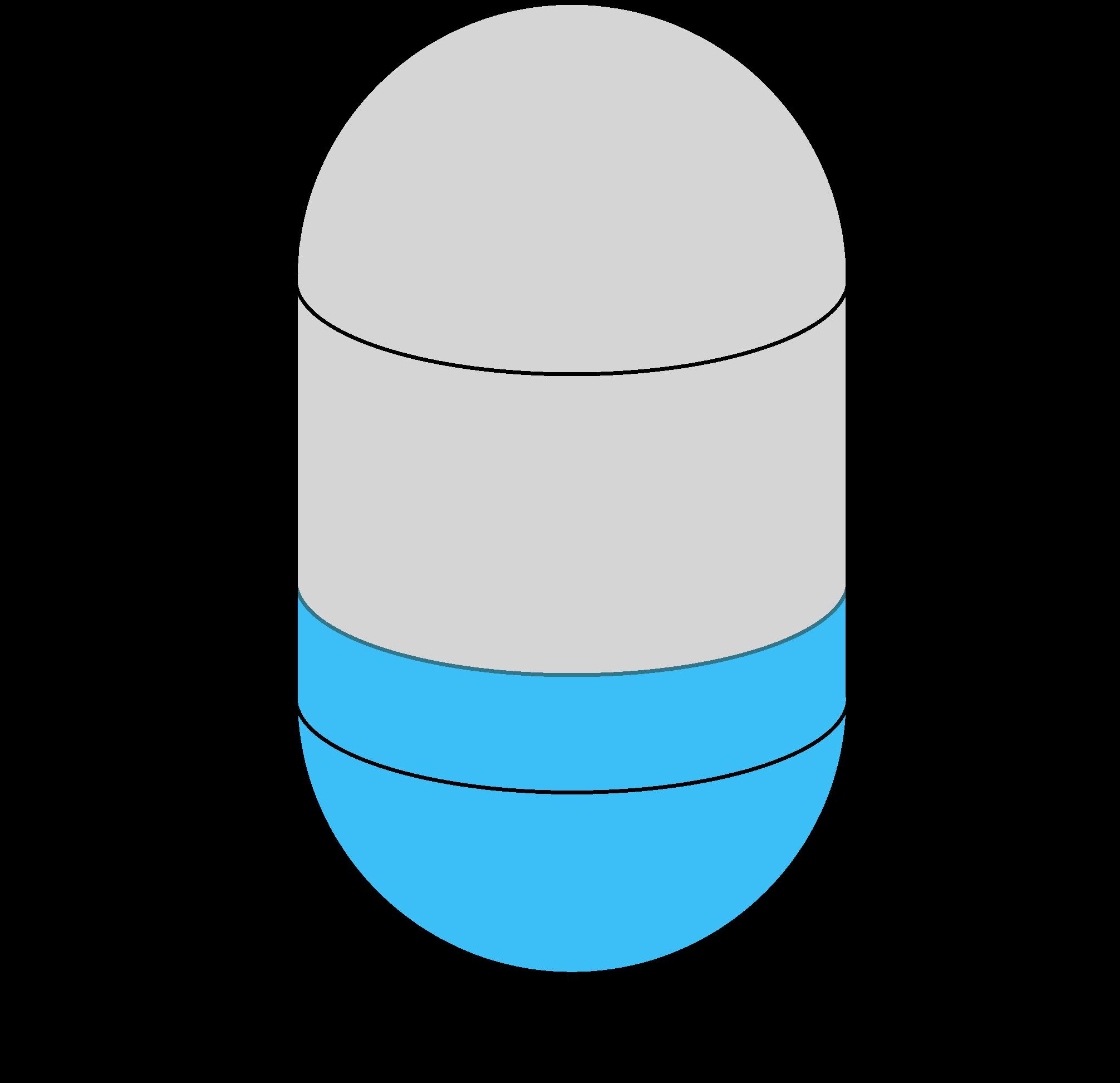 vertical capsule tank diagram showing side length, diameter, and fill depth dimensions