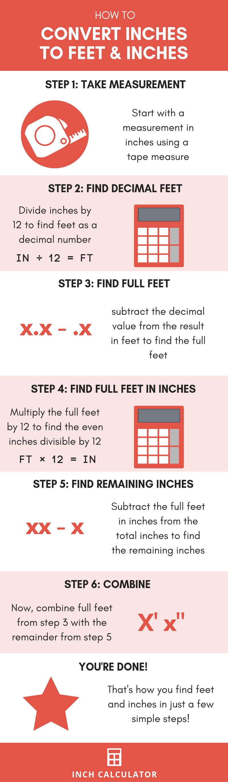 infographic showing how to convert inches to feet and inches