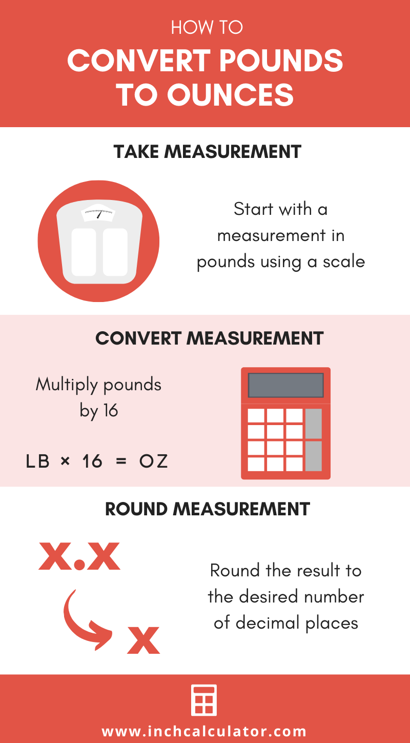 infographic showing how to convert pounds to ounces