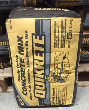 80 pound bag of Quikrete pre-mixed concrete commonly sold at a home center