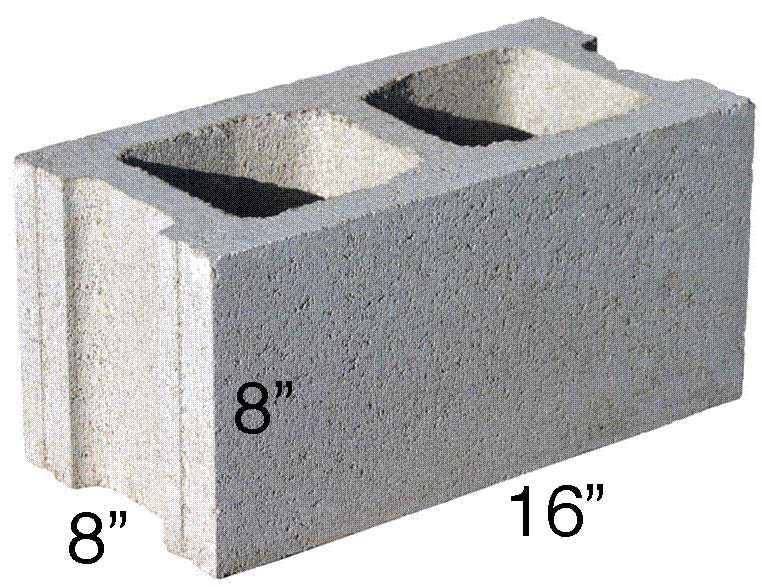 A cinder block with markings showing the dimensions of a stadard block measuring 16 inches wide by 8 inches high by 8 inches deep