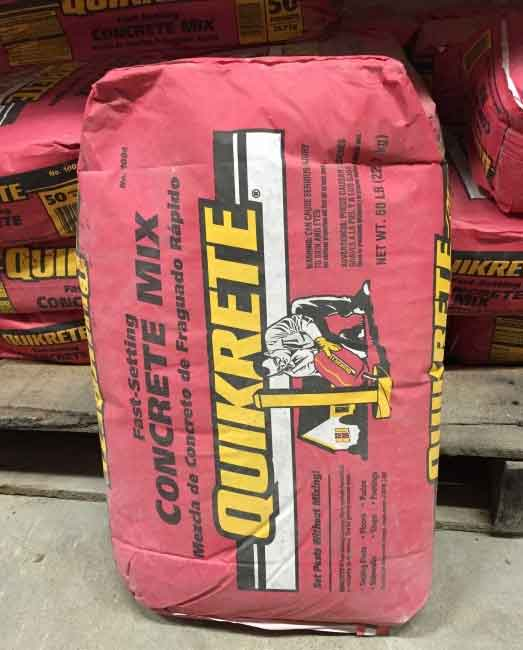 Bags of concrete can be used to fill post holes
