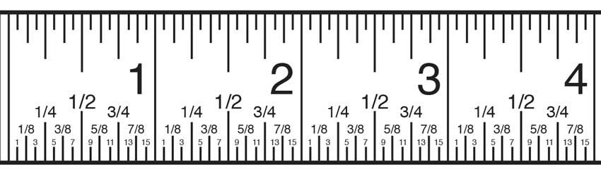 Inch fractions on a tape measure are distinguished by the size of the tick mark