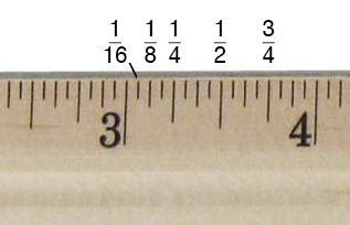 Find inch fractions on a ruler or tape measure