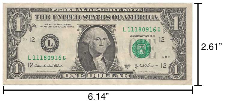 "A dollar bill measures 2.61"" x 6.14"" and can be used to make simple measurements"