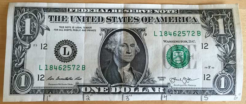 A dollar bill ruler is easy to make