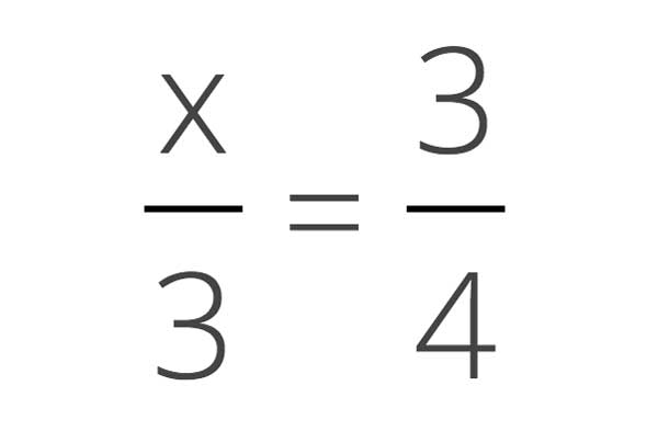 Solve for x in an algebra equation that is a fraction by cross-multiplying both sides of the equation.