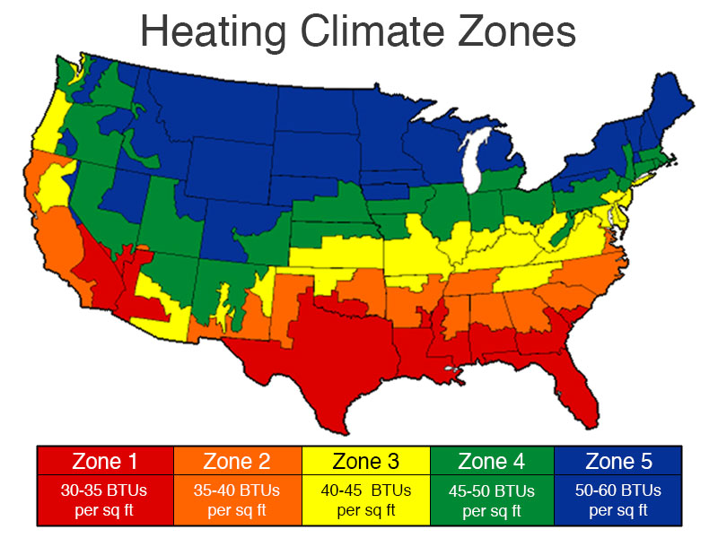 Homes require a different amount of energy to heat depending on how cold the environment is. This chart shows how many BTUs per square foot are needed to comfortably heat a space based on geographic location.