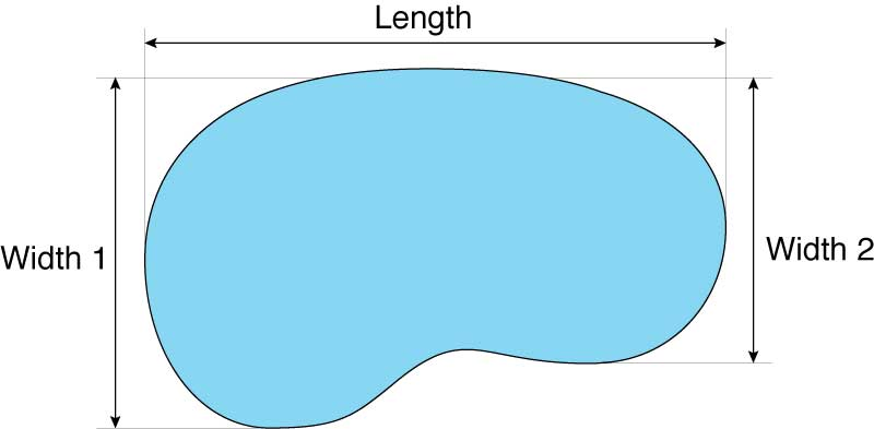 Illustration showing the dimensions of an oblong swimming pool