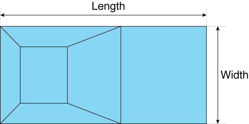 Calculate the volume of a rectangular swimming pool by multiplying the length by width by depth.