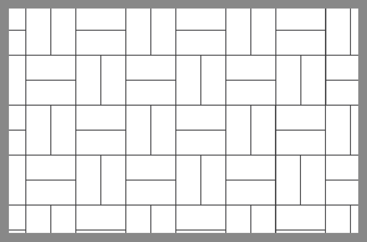Tile layout using the basket weave pattern