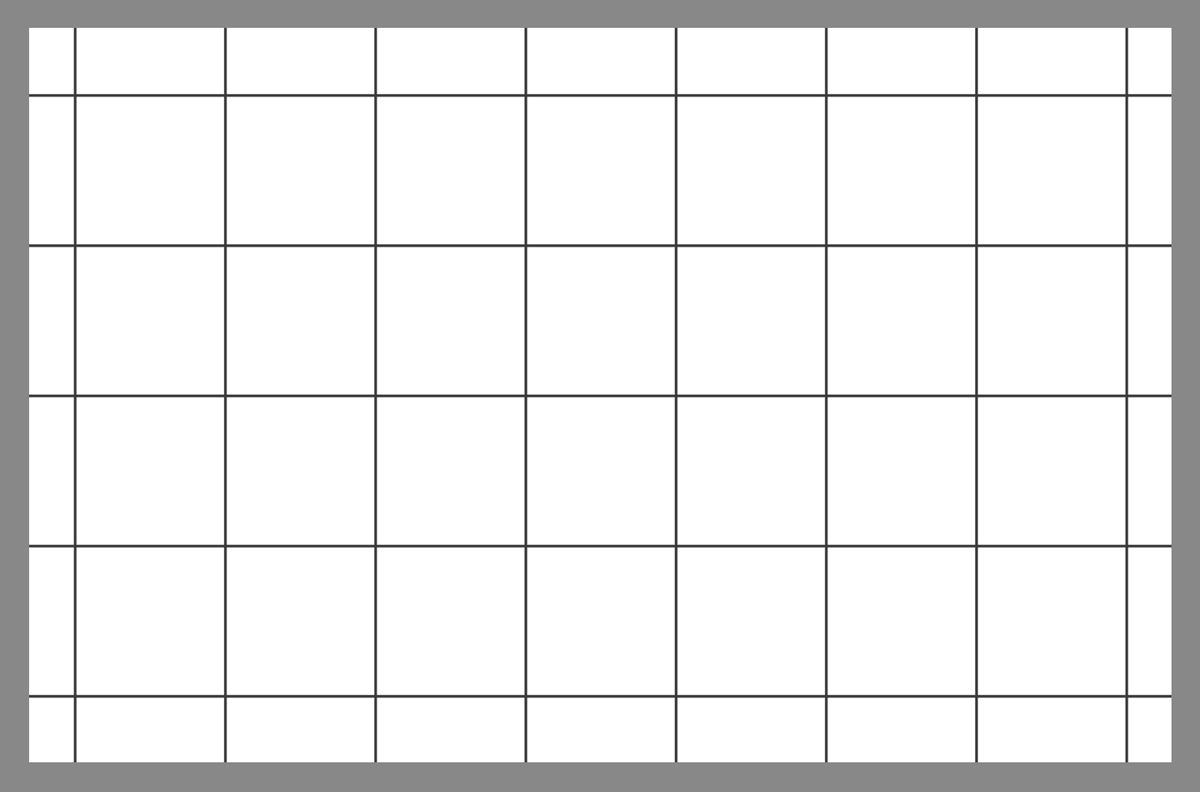 Tile layout using the linear square grid pattern