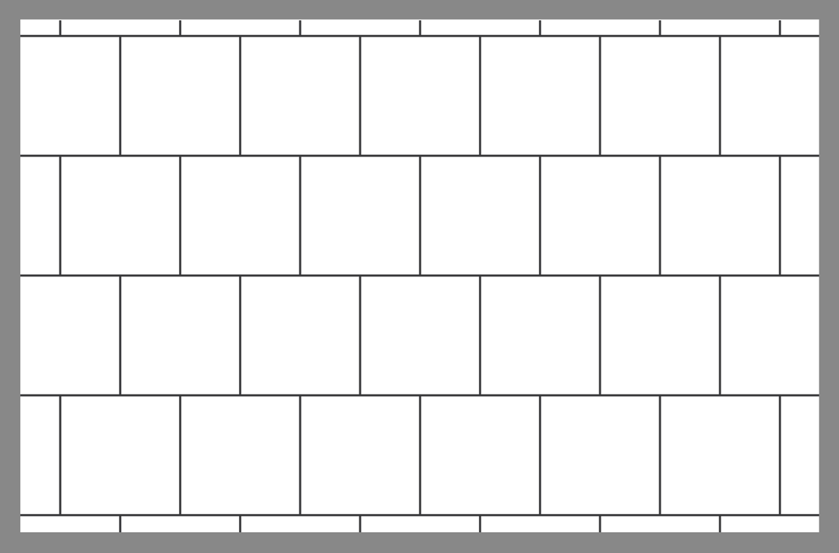 Tile layout using the square running bond pattern
