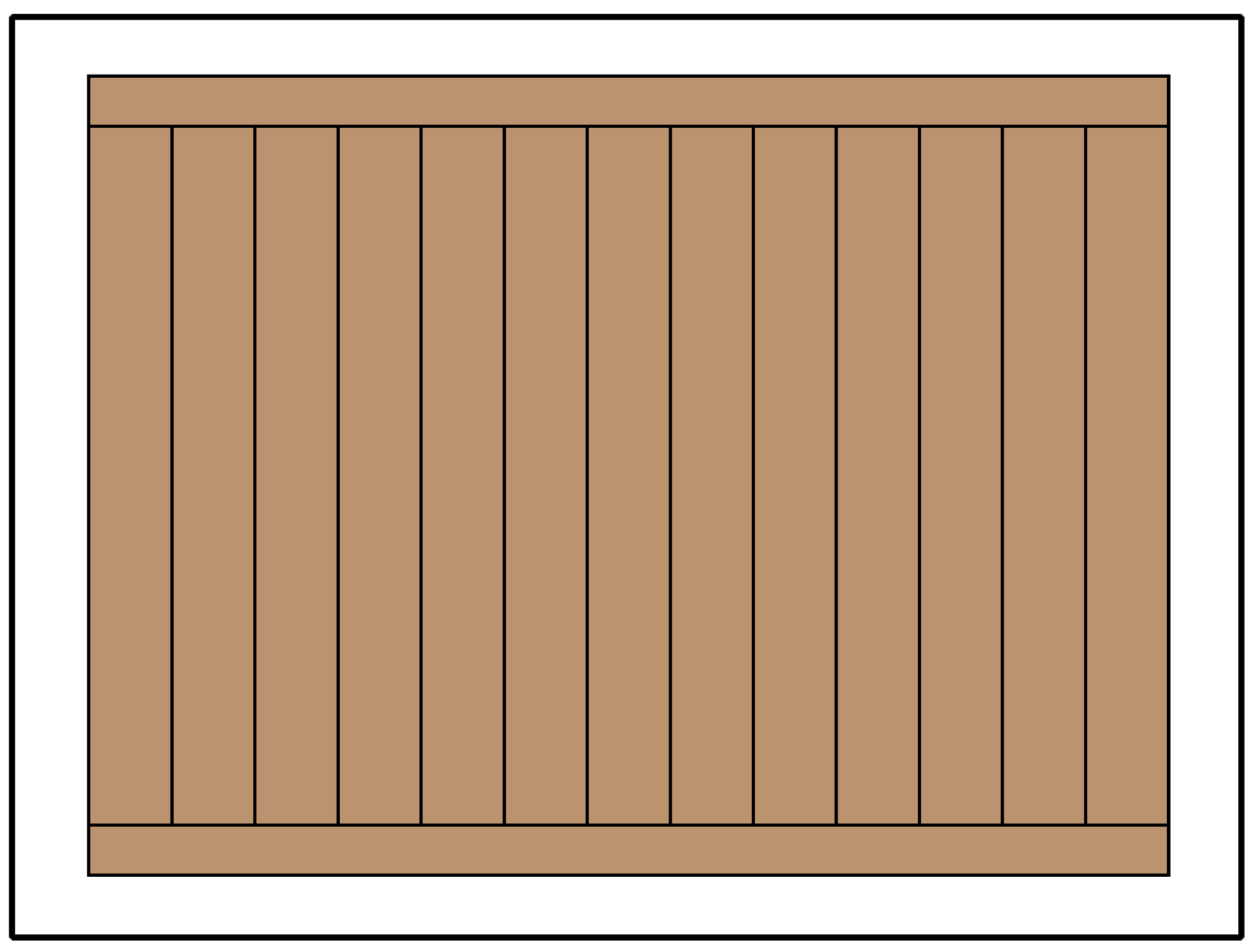 Illustration of a framed style privacy fence