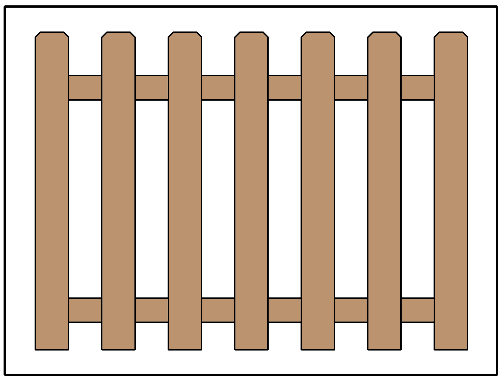 Picket fence design using dog ear pickets