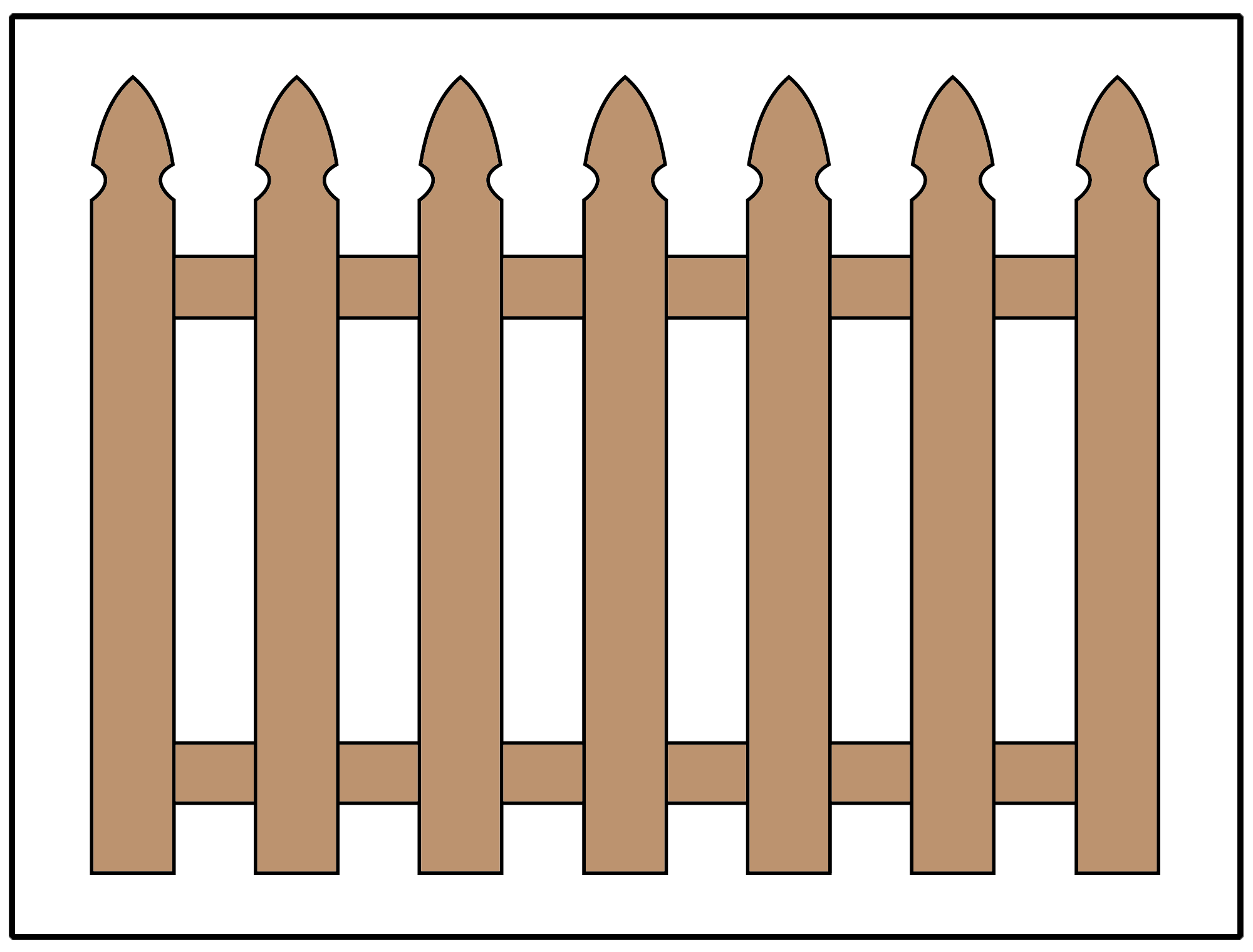 Picket fence design using gothic pickets