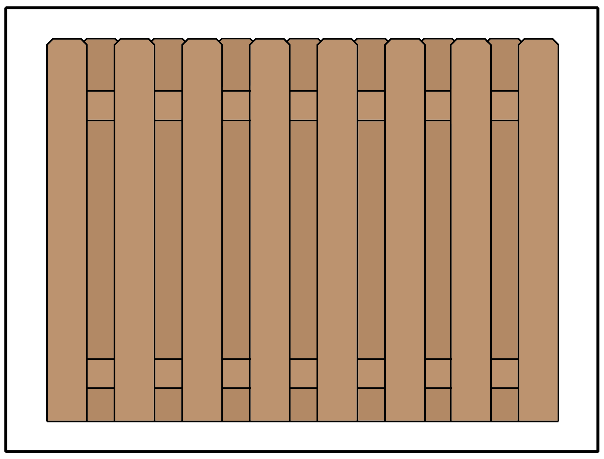 Illustration of a shadowbox style privacy fence