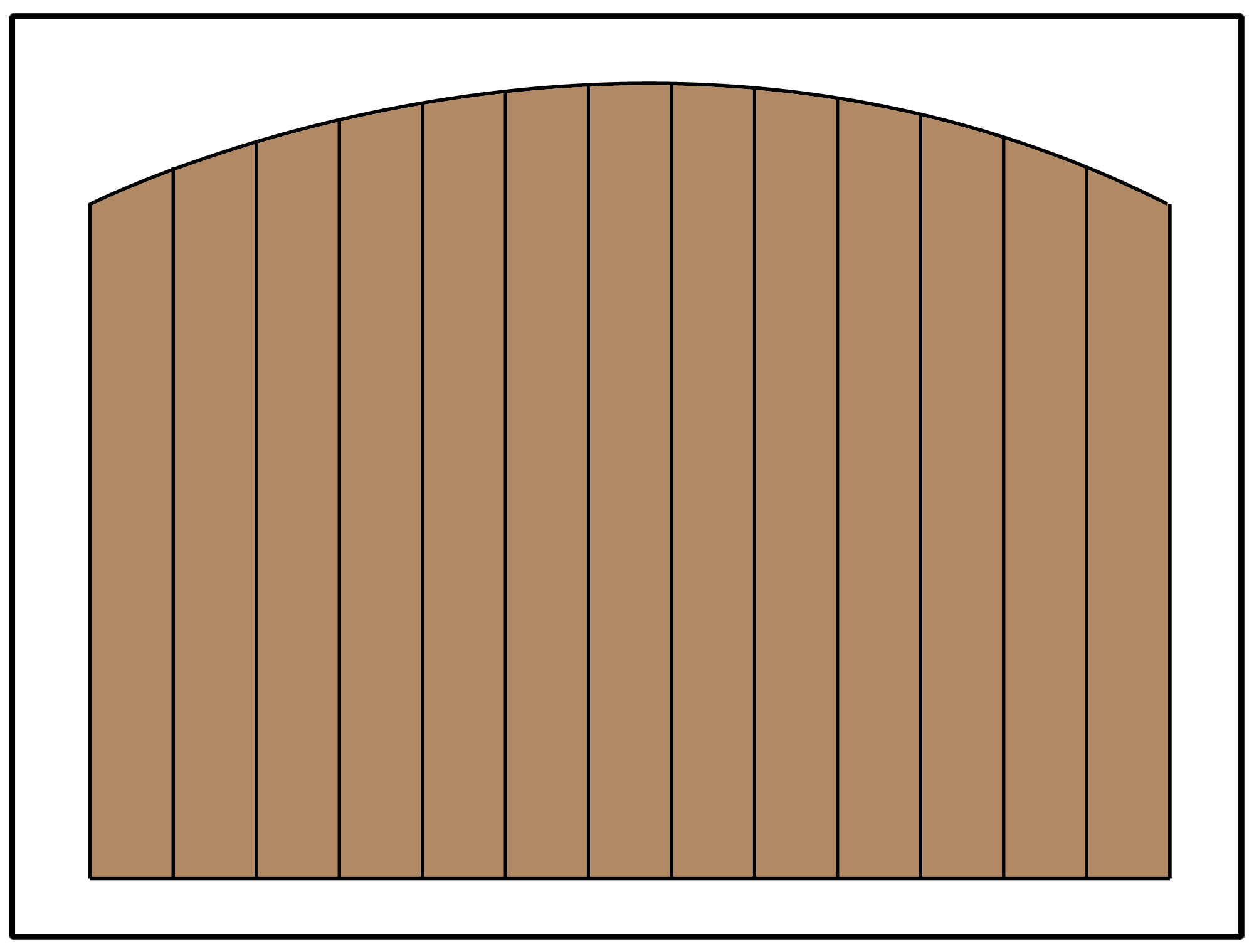 Privacy fence with an arched curve in the panel