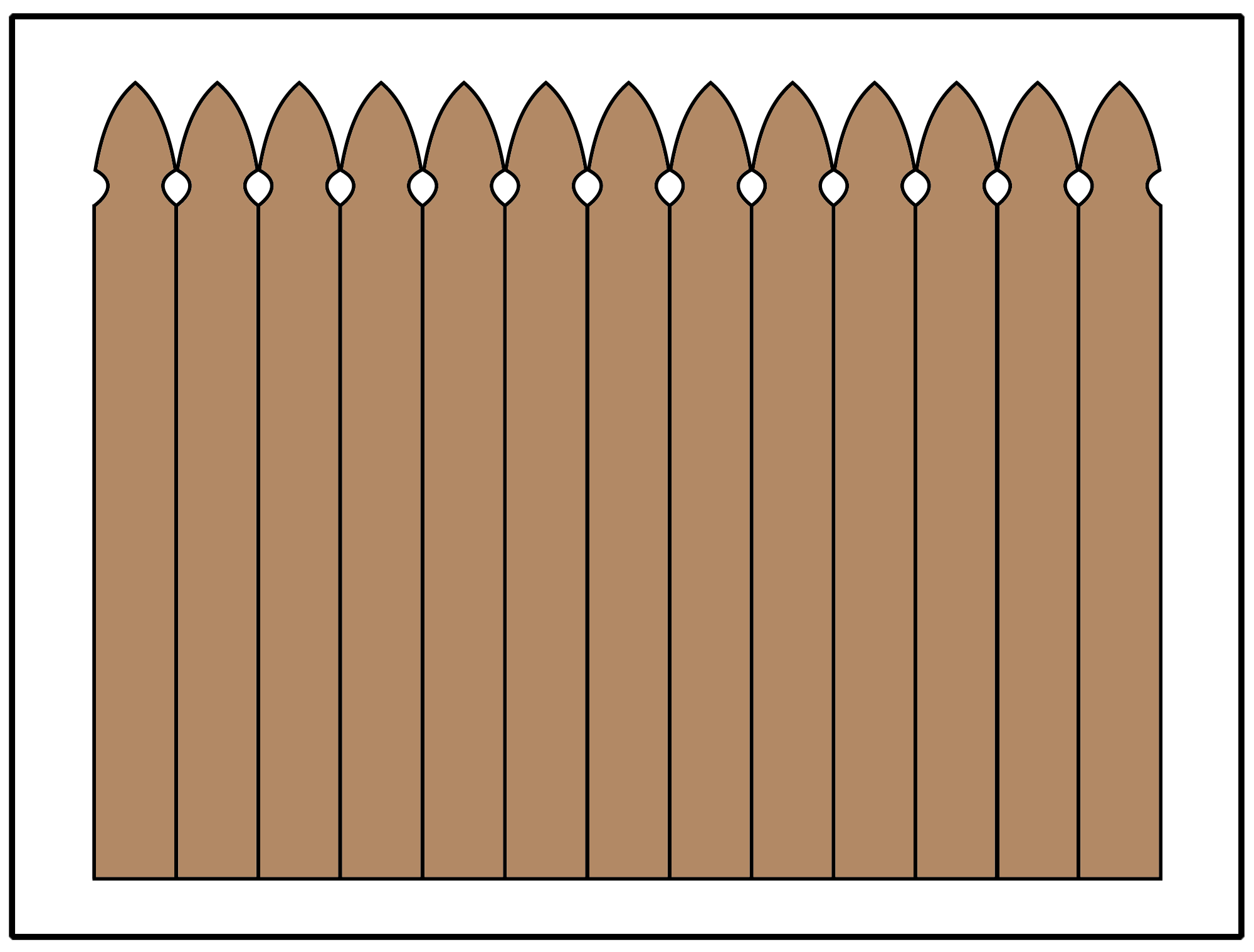 Privacy fence using a gothic picket