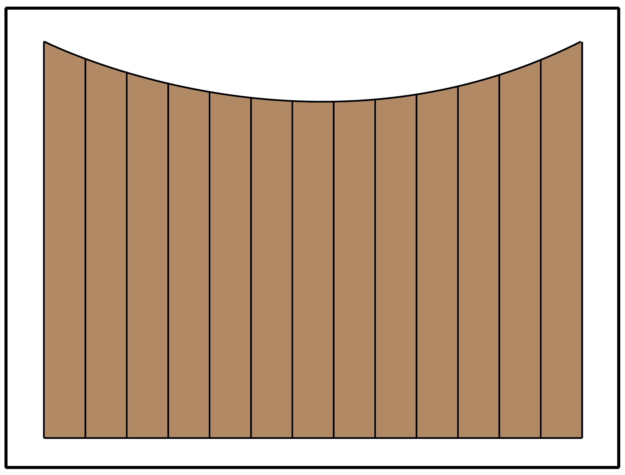 Privacy fence with an scalloped curve in the panel