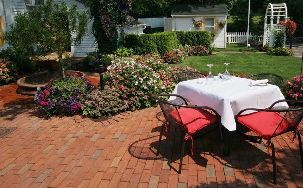 Brick patio showcasing the classic and elegant look of brick pavers