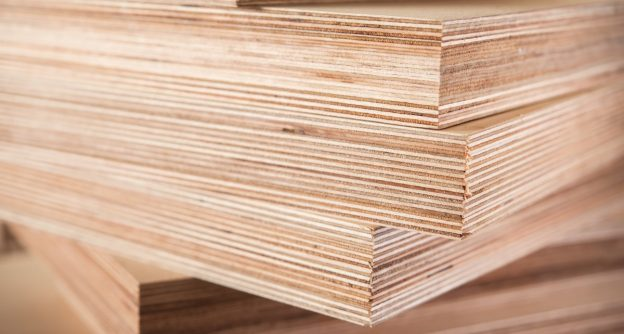 Sheets of 3/4 inch plywood stacked
