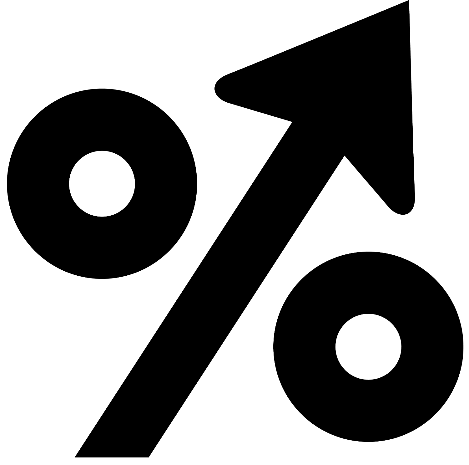 icon with percent symbol and up arrow to symbolize percent increase
