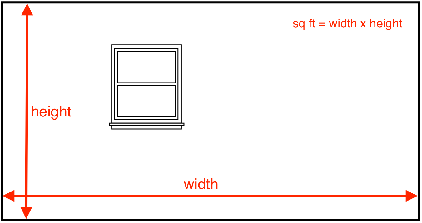drawing showing how to find the square footage of a wall