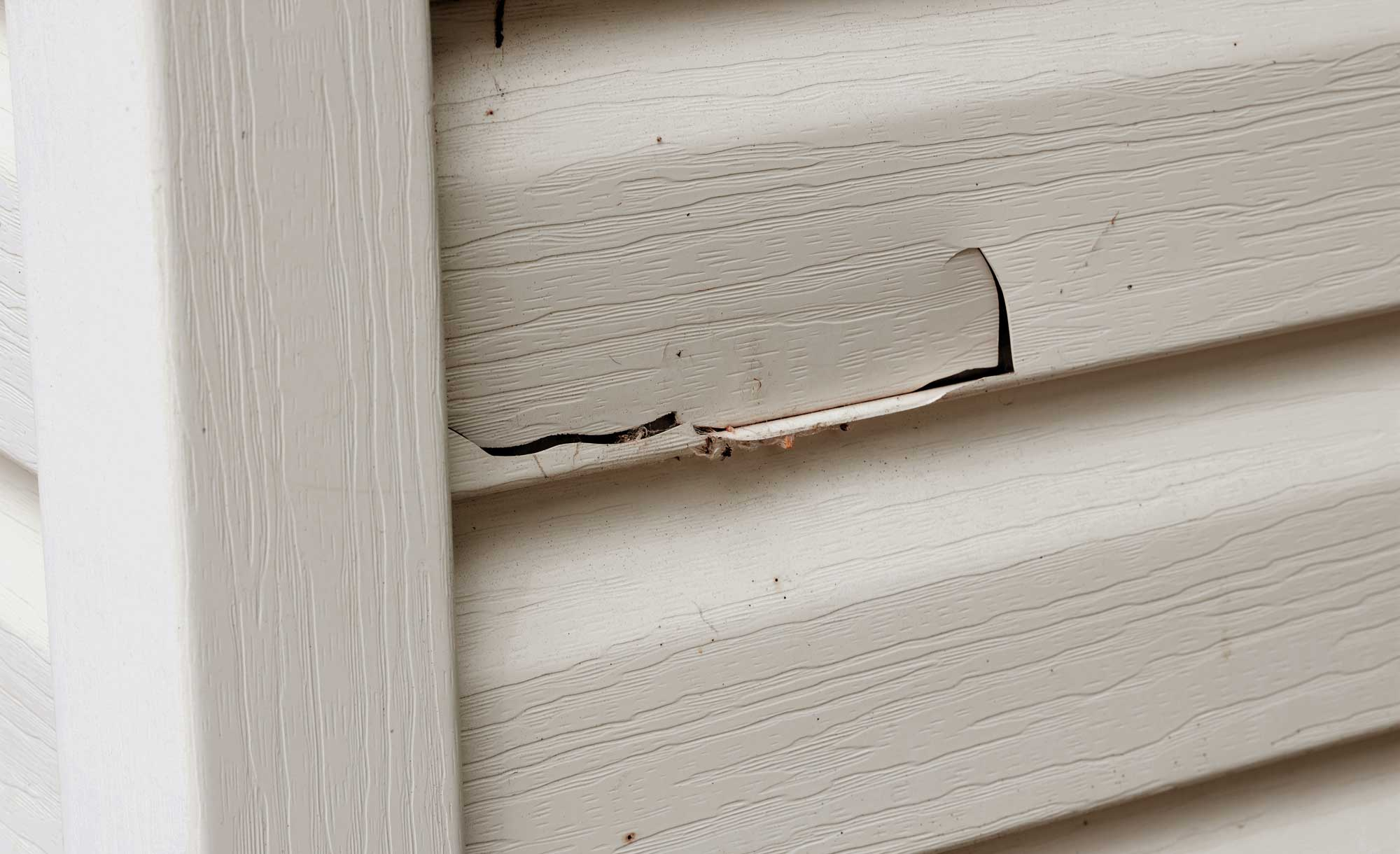 damaged vinyl siding that is in need of repair