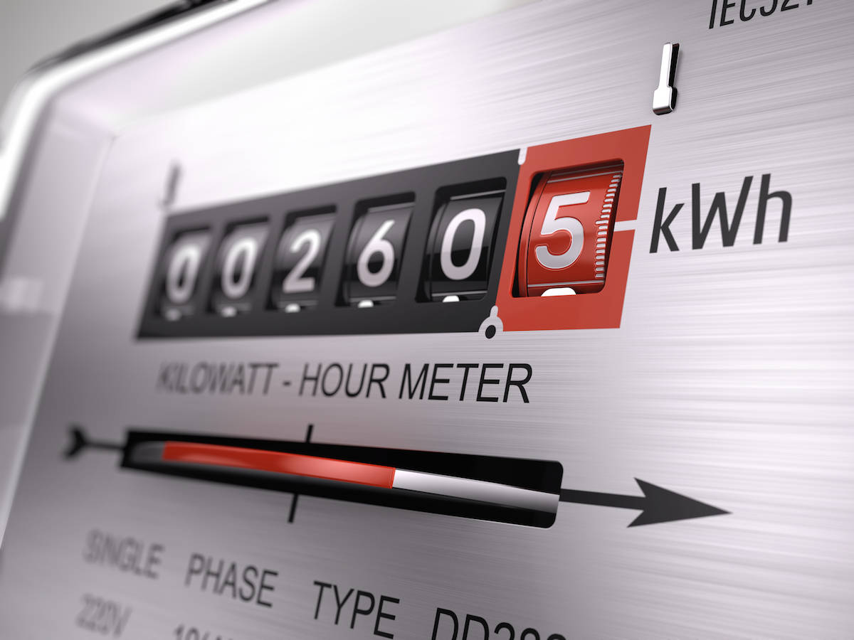 electric meter showing power used measured in kilowatt hours