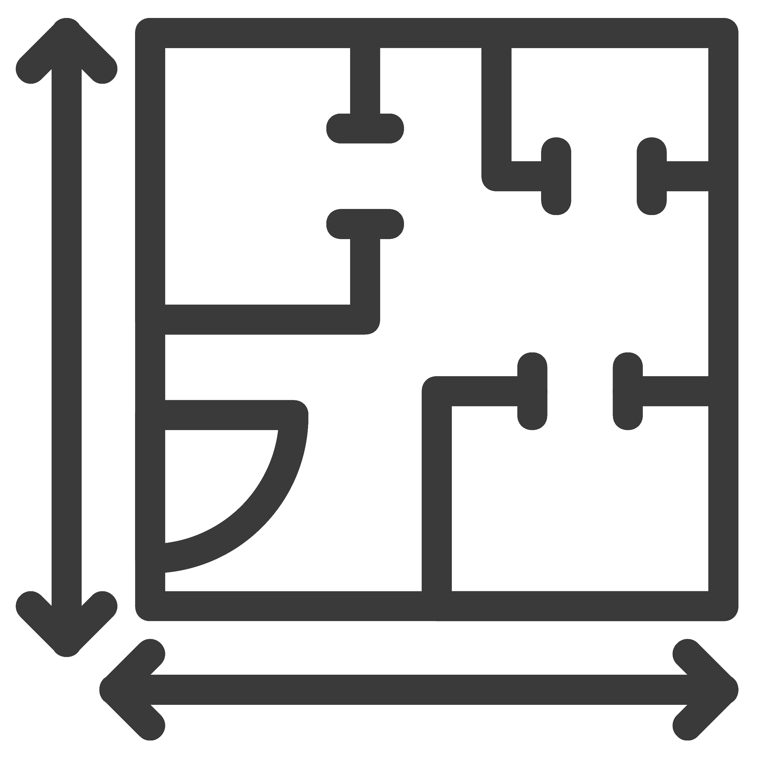 blueprint with square feet measurements icon