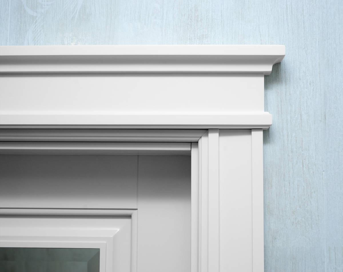 Door casing trim installed around a door