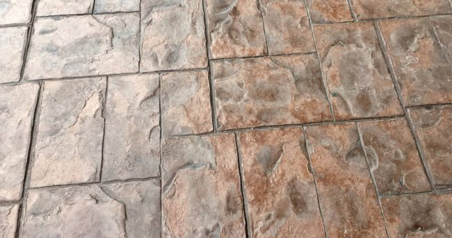 Stamped concrete patio that looks like natural stone