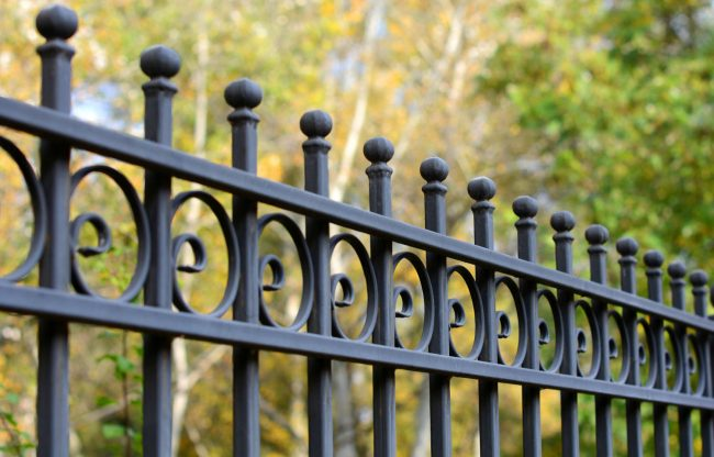 Black iron fence with ornamental details