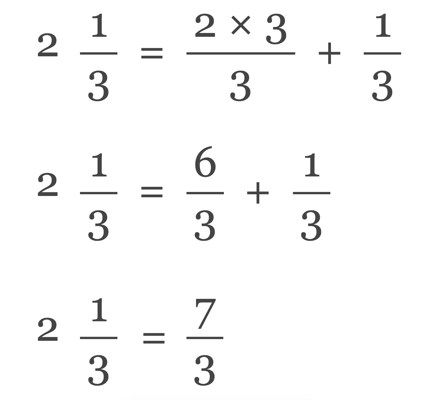 equation demonstrating the steps to convert a mixed number to a fraction
