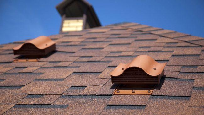 Newly installed asphalt shingle roof