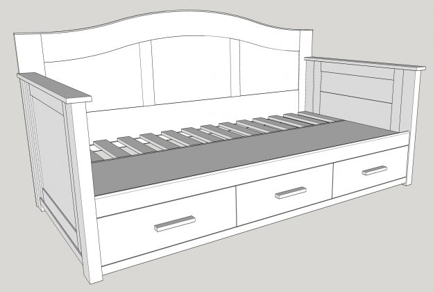 drawing of a twin-sized daybed