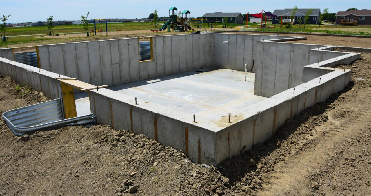 newly poured concrete foundation