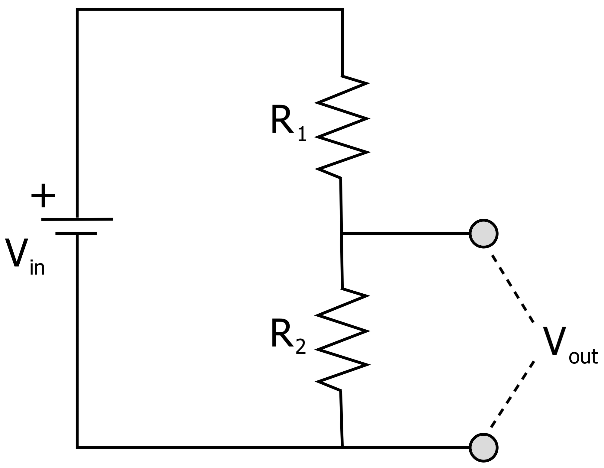 voltage divider circuit with two resistors