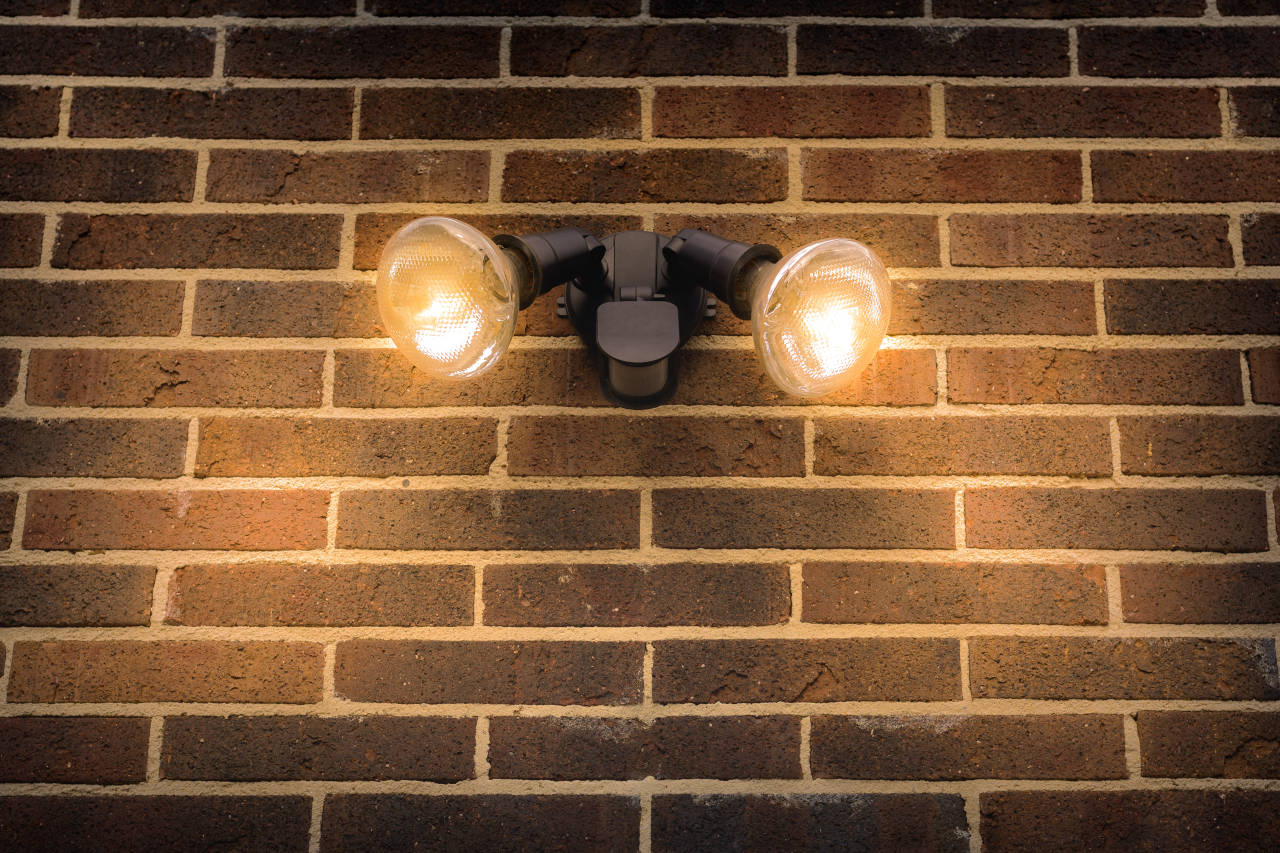 Floodlight on the outside of a home