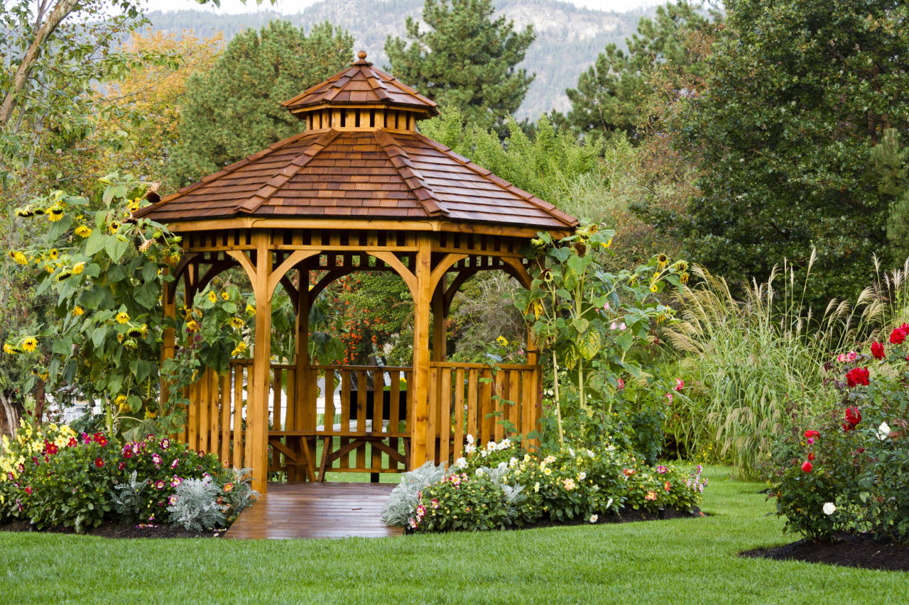 newly installed gazebo surrounded by landscaping