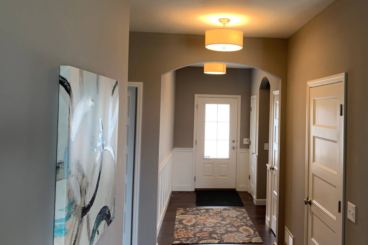 New light fixtures installed in an entryway