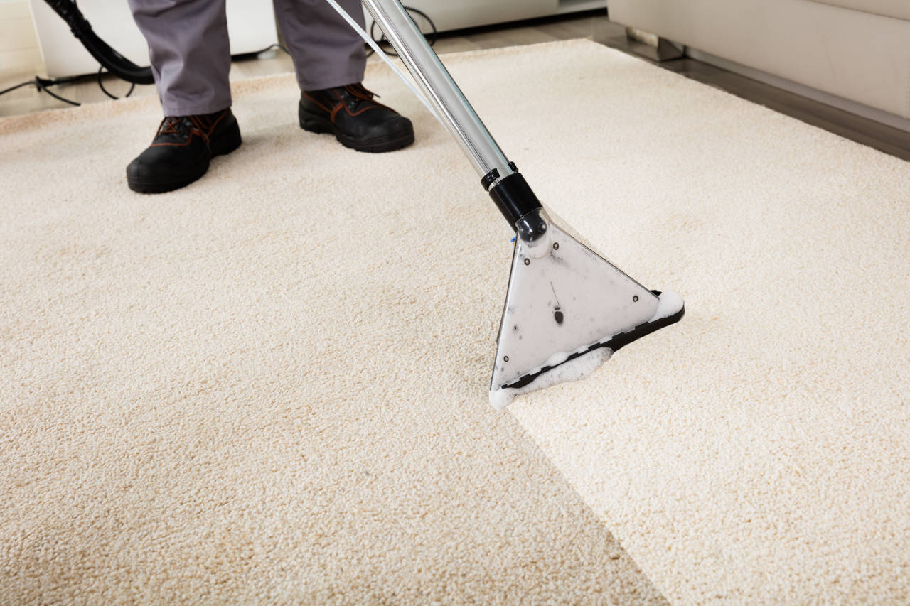 professional cleaning a carpet using a steam cleaner