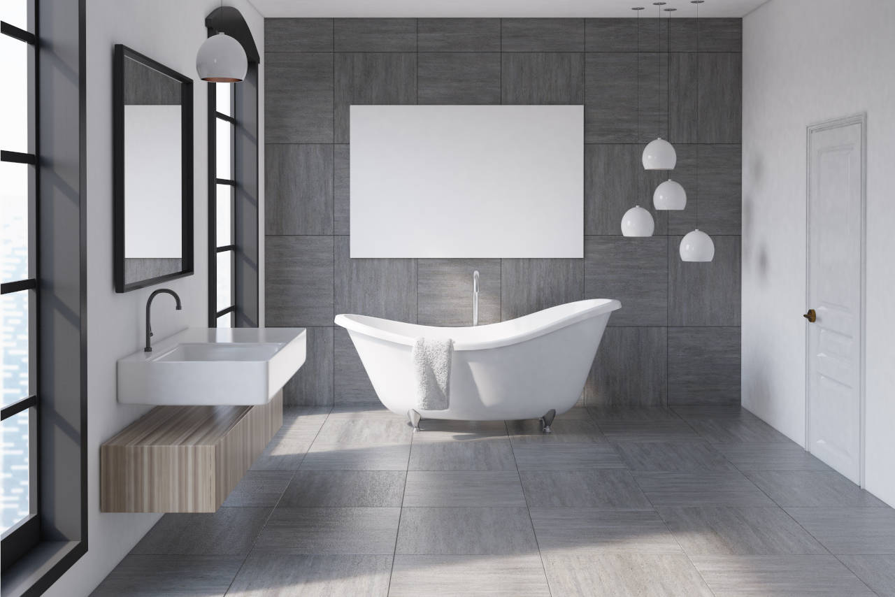 modern bathroom with tile floor and a standalone tub